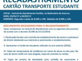 RECADASTRAMENTO CARTÃO TRANSPORTE ESTUDANTE 2017