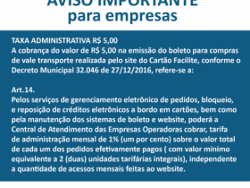Aviso Empresas - Taxa administrativa