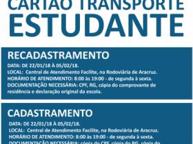 CARTÃO ESTUDANTE 2018 - CADASTRO E RECADASTRO