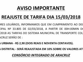 AVISO IMPORTANTE - Reajuste de tarifas