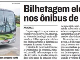 A Bilhetagem Eletrônica foi notícia no Jornal A Tribuna
